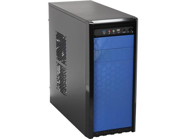 DIYPC FM08-Blue Black USB 3.0 ATX / Micro ATX Mid Tower Computer Case with 120mm Blue Fan