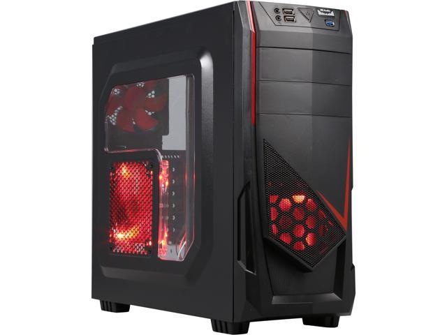 DIYPC Ranger-R4-R Black/Red USB 3.0 ATX Mid Tower Gaming Computer Case with 3 x Red Fans (1 x 140mm LED Fan x side, 1 x120mm LED Fan x front, 1 x 120mm fan x rear)
