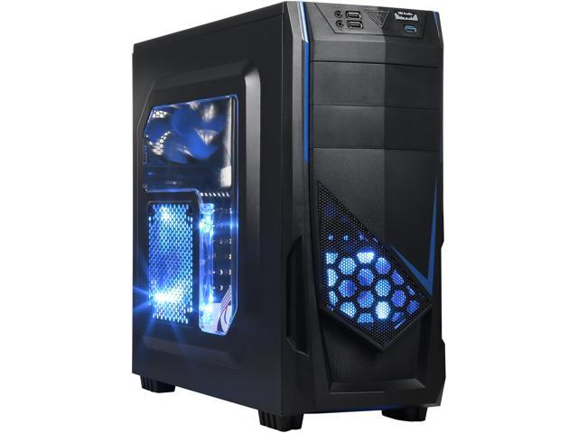 DIYPC Ranger-R5-B Black USB 3.0 ATX Mid Tower Gaming Computer Case with 3 x Blue Fans (1 x 140mm LED Fan x side, 1x120mm LED Fan x front, 1 x 120mm fan x rear)