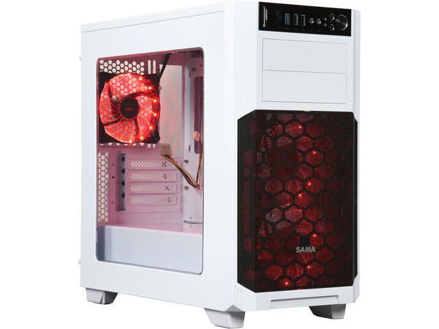 SAMA Maxcool-W-15LEDLight White SECC MicroATX Mid Tower Computer Case