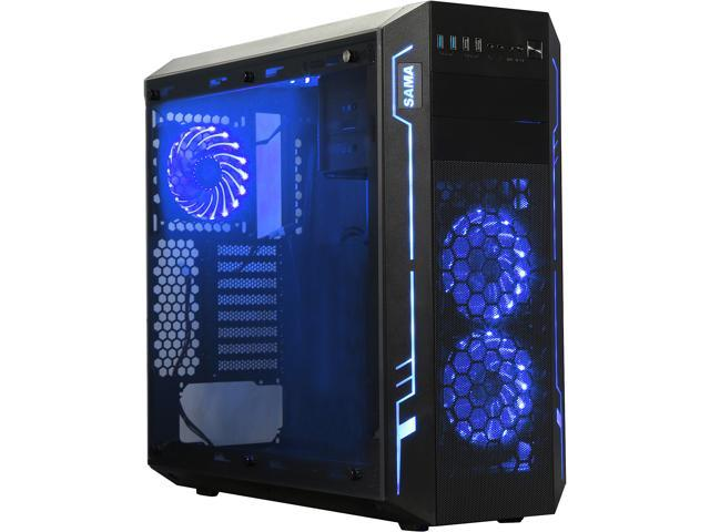 Sama Ark Black ATX Full Tower Dual USB3.0 Gaming Computer Case w/ Build-in 5 x RGB LED Fan (7 Color Changeable in 3 modes), Card Reader and Fan Controller