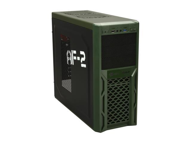 COUGAR Solution AF-2 Black & Army Green Steel ATX Mid Tower Computer Case with 12cm COUGAR TURBINE HYPER-SPIN Bearing Silent Fan and USB 3.0