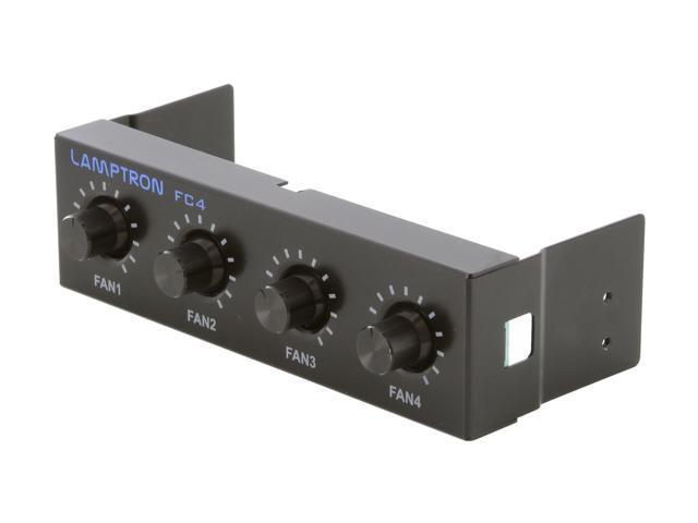 """1ST PC CORP. FC-FC4-B Lamptron 5.25"""" 4-channel fan controller, 20w/channel, 3-pin fan & molex power connector"""