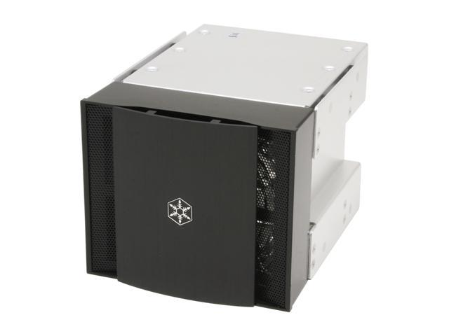 "Silverstone CFP51-B Aluminum 5.25"" to 3.5"" bay converter with 120mm fan"