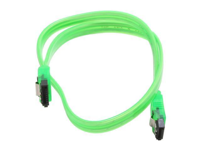"""Link Depot SATA-L0.5-UVG 19"""" UV Green Latch Serial ATA Cable"""