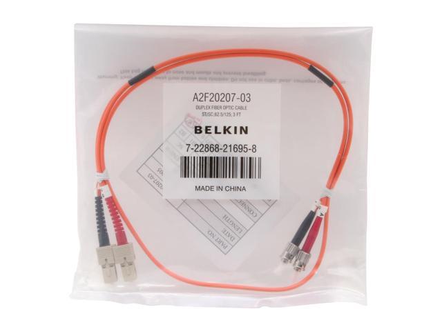 Belkin A2F20207-03 3 FT Multimode Duplex Fiber Patch Cable, SC/ST, 3 ft.