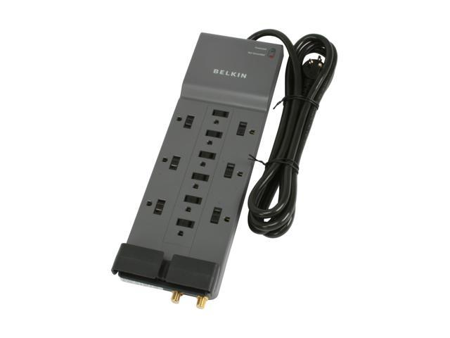 BELKIN BE112230-08 8 Feet 12 Outlets 3780 Joules Surge Protector with Telephone and Coaxial Protection