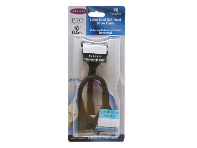 """Belkin Model F2N1123-18INCH 18"""" 3-Connectors IDE Round Black Cable"""