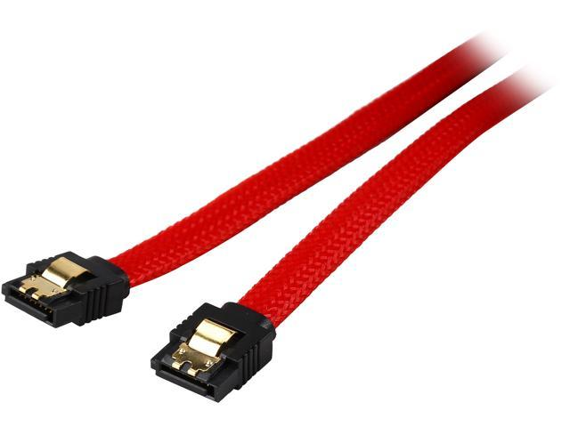 Coboc PR-SATA3-24-LL-RD 24 inch Premium SATA III 6Gbps Data Cable  w/ Gold Plated Locking latch,Red Color Net Jacket,