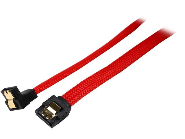 Coboc PR-SATA3-18-LL-RD-90 18 inch Premium SATA III 6Gbps Data Cable  w/ Gold Plated Locking latch - 180 Degree to 90 Degree,Red Color Net Jacket,