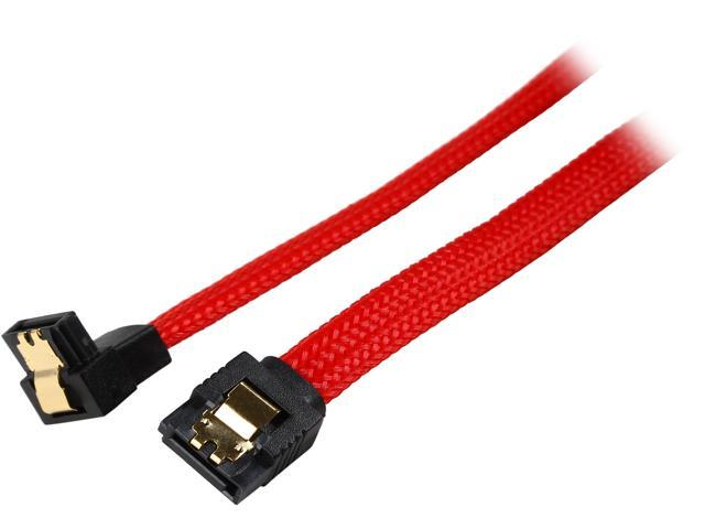 Coboc PR-SATA3-24-LL-RD-90 24 inch Premium SATA III 6Gbps Data Cable  w/ Gold Plated Locking latch - 180 Degree to 90 Degree,Red Color Net Jacket,