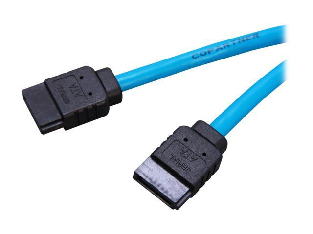 """Rosewill RCA-RU-19-SA3-BL - 19.7"""" Round, Blue Serial-ATA III Cable with Locking Latch - Supports 6 Gbps, 3 Gbps, and 1.5 ..."""