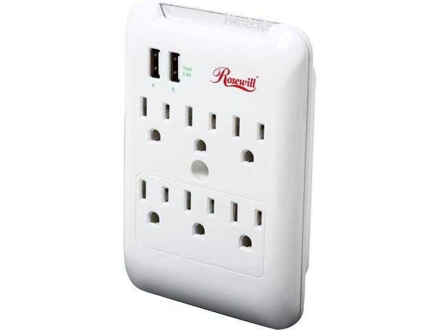 Rosewill RHSP-14001 - 6-Outlet Wall Tap Power Surge Protector