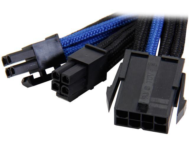 Silverstone PP07-EPS8BA 0.98 ft. Sleeved Extension Power Supply Cable with 1 x 8pin to EPS12V 8pin(4+4) Connector - Black/Blue F-M