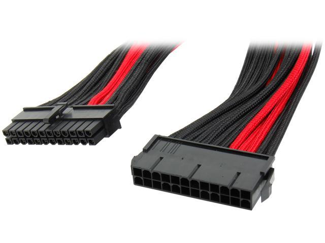 Silverstone PP07-MBBR Motherboard 24pin connector Sleeved Extension Power Supply Cable Black & Red