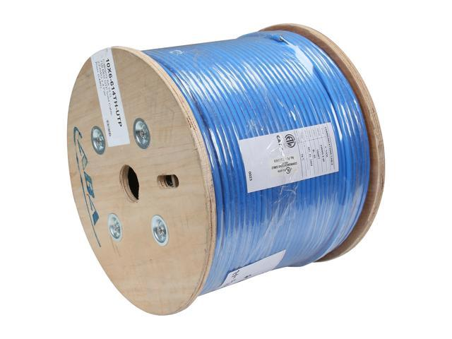 Link Depot C6AU-SOL-BUB 1000ft Cat6a 650 MHz 10G UTP Solid Bulk Ethernet Bare Copper Cable, Riser Rated (CMR), Blue