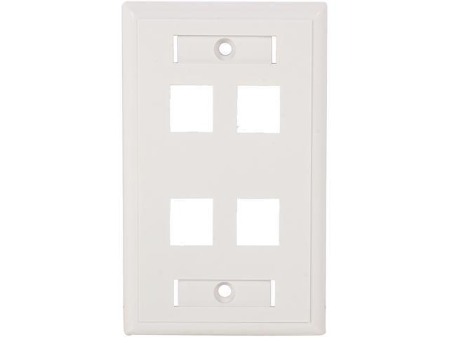 C2G  03413 4-Port Single Gang Multimedia Keystone Wall Plate - White