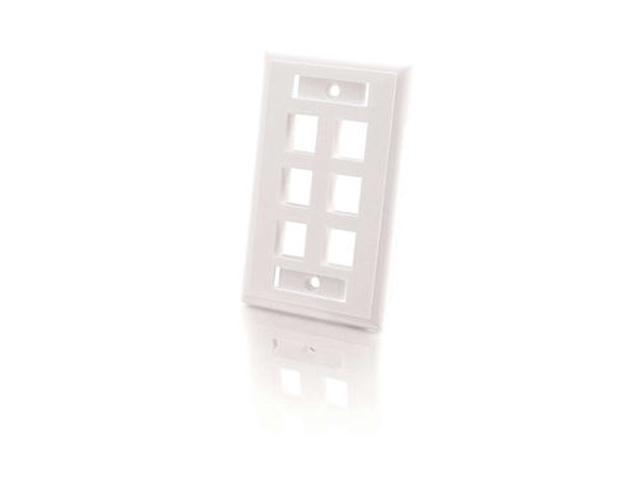 C2G 03414 6-Port Single Gang Multimedia Keystone Wall Plate - White