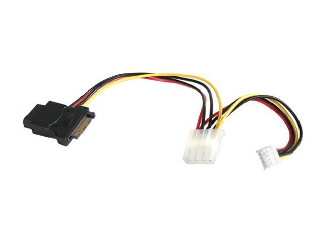StarTech LP4SATAFMD 4.7 in [12 cm] LP4 to SATA 15 Pin Power Adapter with Floppy Power