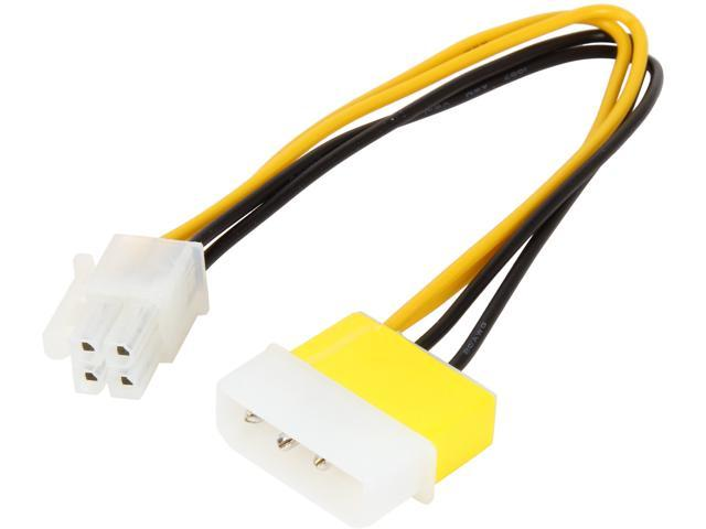 "KINGWIN PEC-06 8"" Black & Yellow Molex 4P(M) to 4P(F) Pentium 4 Extension Cable M-F"