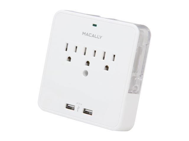 macally WallUSB Power Outlet & Dual USB Charger With Phone Cradle