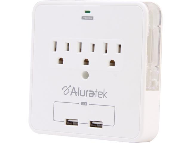 Aluratek AUCS07F Mini Surge Dual USB Charging Station with Holding Trays