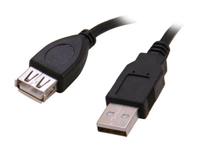BYTECC USB2-6MF-K 6 ft. Black Type A Male to Type A Female USB 2.0 Extension Cable