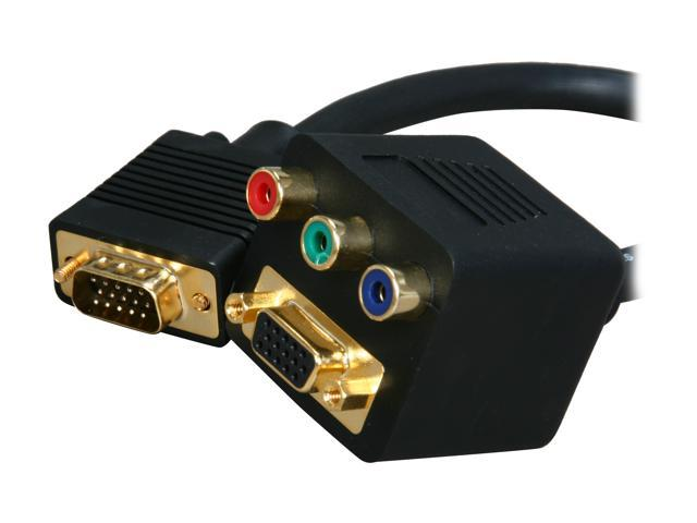 BYTECC BTA-33 VGA(HD15) Female with Nuts & 3 RCA Female to VGA(HD15) Male Adaptor