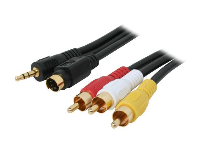 BYTECC Model SV3R-12 12 ft. S-Video/3.5mm Stereo Male to YRW video/audio Male Cable M-M