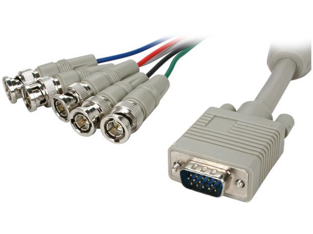 BYTECC HD15M/5BNCF-1 1 ft. HD15 to BNCx5 Cable, Male to Male, Beige
