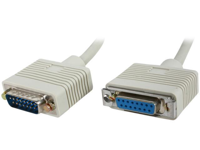 BYTECC Model DB15MF-6 6 ft. DB15 Tranceiver AUI Male to Female Cable, Beige M-F