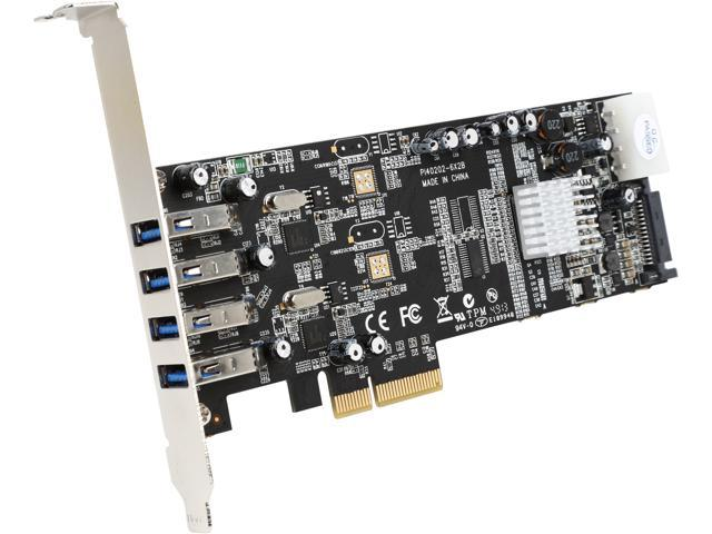 StarTech PEXUSB3S42V 4 Port Dual Bus PCI Express (PCIe) SuperSpeed USB 3.0 Card Adapter with UASP - SATA/LP4 Power - Retail
