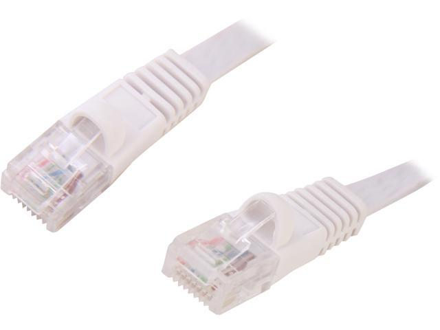 Coboc CY-CAT5E-14-White 14ft. 30AWG Cat 5E White Color 350MHz UTP Flat Ethernet Stranded Copper Patch cord /Molded Network lan Cable