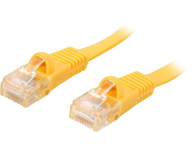 Coboc CY-CAT5E-10-Yellow 10ft. 30AWG Cat 5E Yellow Color 350MHz UTP Flat Ethernet Stranded Copper Patch cord /Molded Network lan Cable