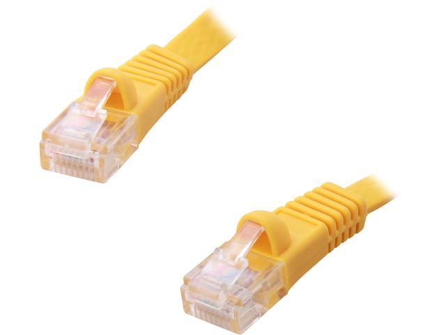 Coboc CY-CAT5E-14-Yellow 14ft. 30AWG Cat 5E Yellow Color 350MHz UTP Flat Ethernet Stranded Copper Patch cord /Molded Network lan Cable