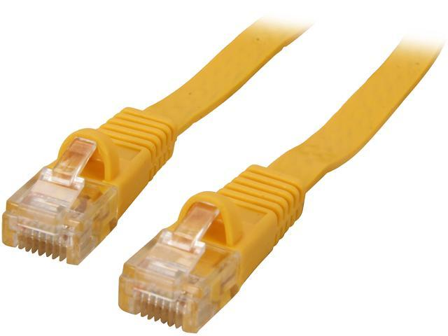 Coboc CY-CAT5E-30-Yellow 30ft. 30AWG Cat 5E Yellow Color 350MHz UTP Flat Ethernet Stranded Copper Patch cord /Molded Network lan Cable
