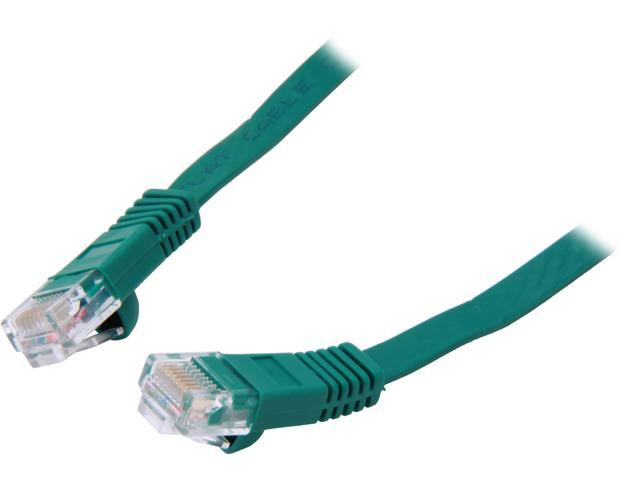 Coboc CY-CAT5E-100-Green 100ft. 30AWG Cat 5E Green Color 350MHz UTP Flat Ethernet Stranded Copper Patch cord /Molded Network lan Cable
