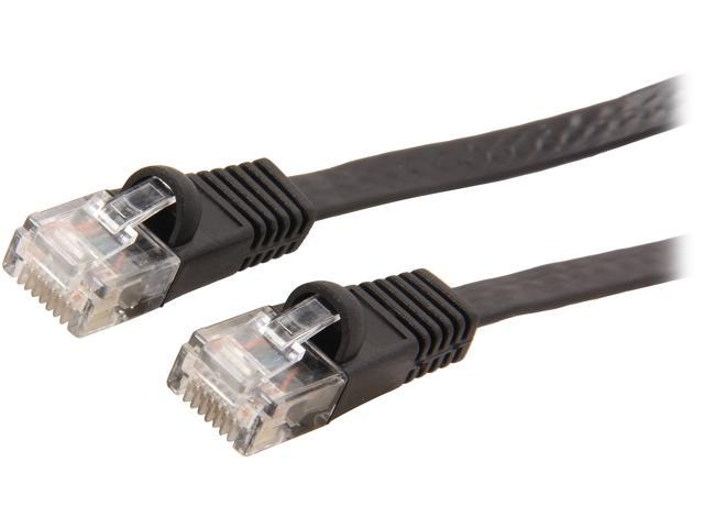 Coboc CY-CAT6-50-Black 50ft. 32AWG Cat 6 Black Color 550MHz UTP Flat Ethernet Stranded Copper Patch cord /Molded Network lan Cable
