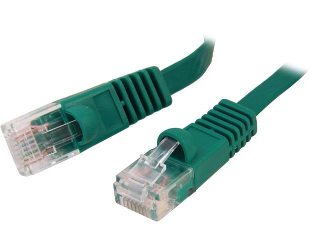 Coboc CY-CAT6-07-Green 7ft. 32AWG Cat 6 Green Color 550MHz UTP Flat Ethernet Stranded Copper Patch cord /Molded Network lan Cable