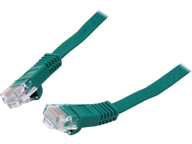 Coboc CY-CAT6-25-Green 25ft. 32AWG Cat 6 Green Color 550MHz UTP Flat Ethernet Stranded Copper Patch cord /Molded Network lan Cable