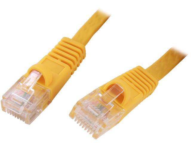 Coboc CY-CAT6-50-Yellow 50ft. 32AWG Cat 6 Yellow Color 550MHz UTP Flat Ethernet Stranded Copper Patch cord /Molded Network lan Cable