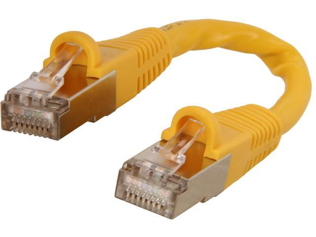 Coboc CY-CAT7-0.5- Yellow 0.5ft.(6in.) 26AWG Snagless Cat 7 Yellow Color 600MHz SSTP(PIMF) Shielded Ethernet Stranded Copper Patch cord /Molded Network lan Cable