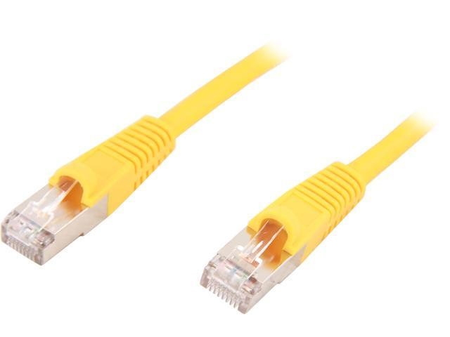 Coboc CY-CAT7-01- Yellow 1ft. 26AWG Snagless Cat 7 Yellow Color 600MHz SSTP(PIMF) Shielded Ethernet Stranded Copper Patch cord /Molded Network lan Cable