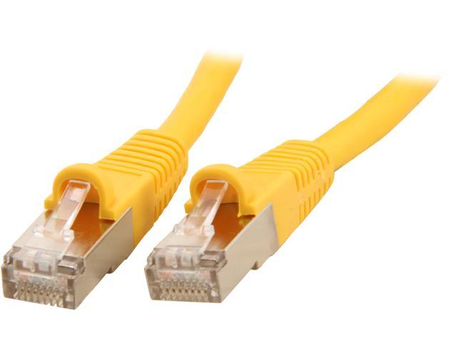 Coboc CY-CAT7-25- Yellow 25ft. 26AWG Snagless Cat 7 Yellow Color 600MHz SSTP(PIMF) Shielded Ethernet Stranded Copper Patch cord /Molded Network lan Cable