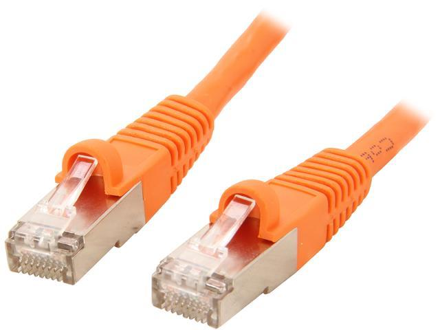 Coboc CY-CAT7-25-Orange 25ft. 26AWG Snagless Cat 7 Orange Color 600MHz SSTP(PIMF) Shielded Ethernet Stranded Copper Patch cord /Molded Network lan Cable