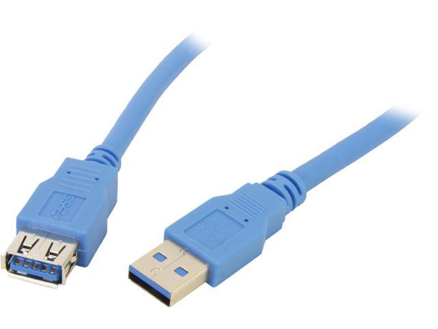 Coboc CY-U3-AAMF-6-BL 6ft SuperSpeed 5Gbps USB 3.0  A Male to A Female Extension Cable,Gold Plated,Blue,M-F