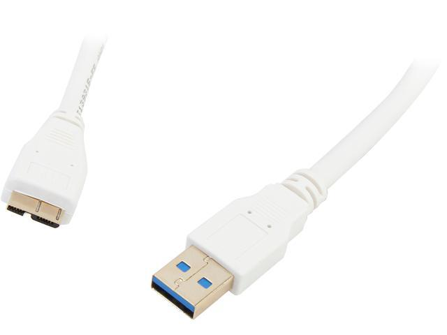 Coboc CY-U3-AMicBMM-6-WH 6ft SuperSpeed 5Gbps USB 3.0  A Male to Micro B Male Cable,Gold Plated,White,M-M