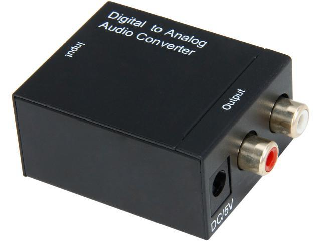 Coboc EA-AUD-DIG2ANA SPDIF Digital Coax & Optical Toslink to Analog Stereo RCA L/R Audio Converter Adapter Metal Cover