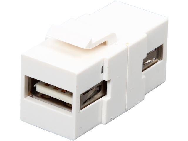 NTW NKY-FF/U2AA-WHT USB A/A Snap-in Keystone Coupler Jack