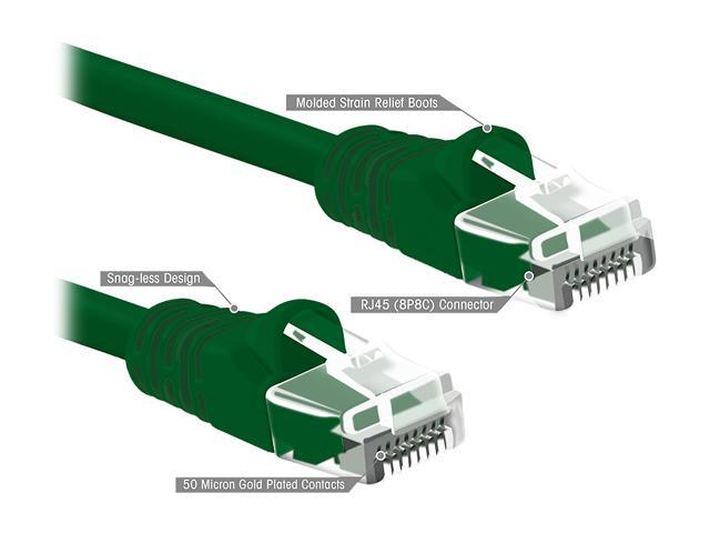(5 PACK) 0.5 FT RJ45 CAT (6E) 550MHZ MOLDED ETHERNET NETWORK PATCH CABLE - GREEN - Lifetime Warranty